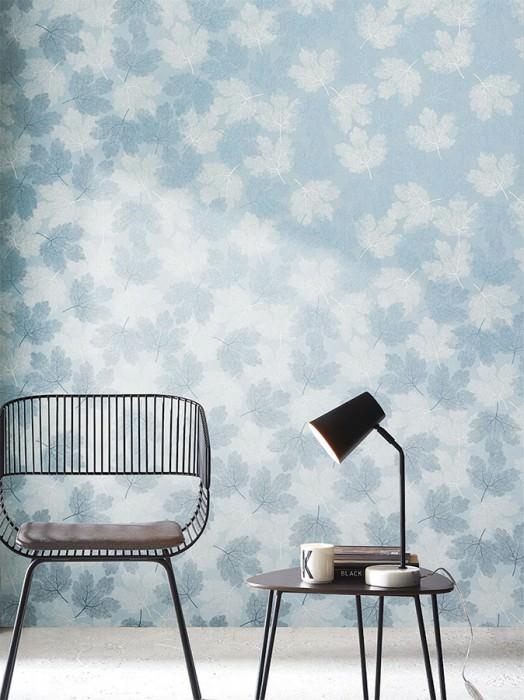 Wallpaper Gobetti Matt Leaves Light blue Cream Pearl blue