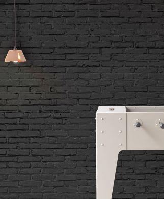 Papel pintado Bricks 01 gris negruzco Ver habitación