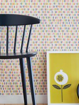 Wallpaper Isberga Matt Stripes Azure blue Beige Cream Curry yellow Light pink Rosè