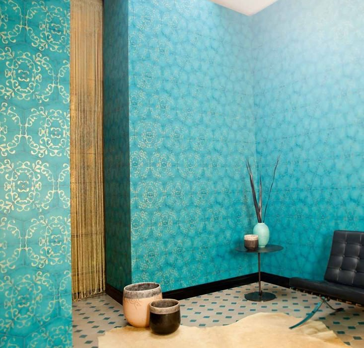 Wallpaper Marduk Shimmering pattern Matt base surface Hexagons Modern elements Turquoise blue Brown Gold
