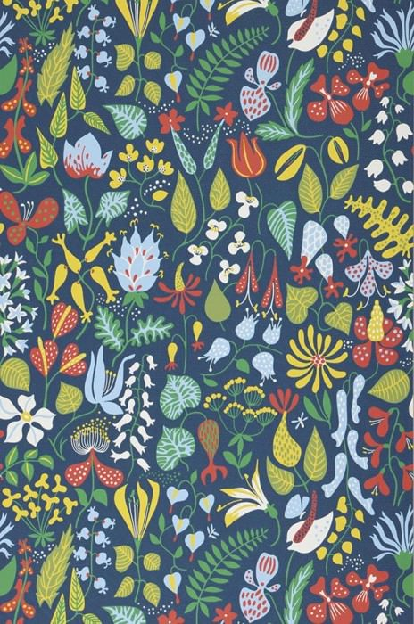 Wallpaper Eurynome Matt Stylised flowers Dark blue Yellow Yellow green Light blue Red White