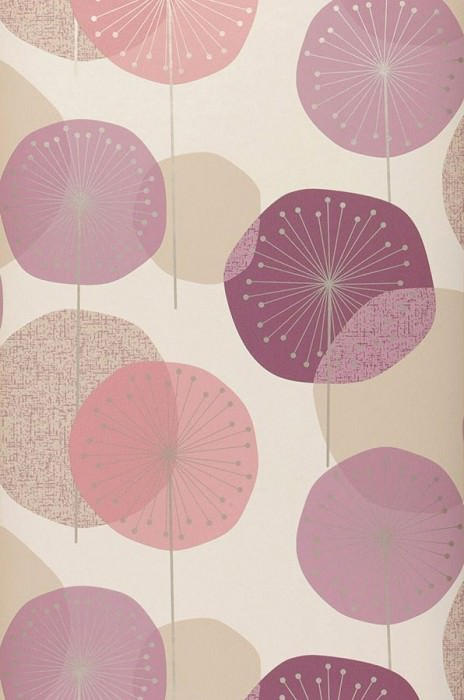 Wallpaper Muriel Matt Stylised blossoms Cream Pale claret violet Light grey beige Pastel violet Rose