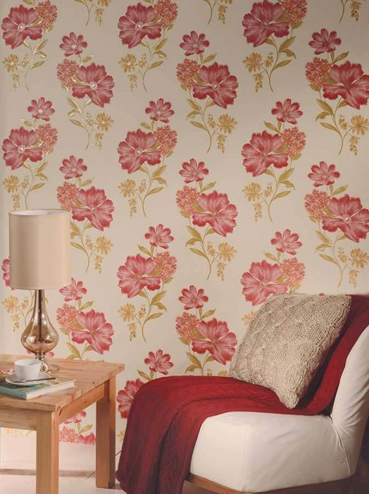 Archiv Wallpaper Desire strawberry red Room View