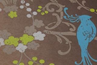 Wallpaper Bellona Matt Shimmering base surface Floral damask Birds Grey brown shimmer Yellow green Light blue Light brown grey Turquoise