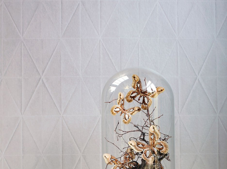 Wallpaper Origami Shimmering Graphic elements Origami Light beige grey
