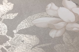 Wallpaper Clarence Matt Leaf tendrils Branches with blossoms Grey Cream Cream Dark grey Pearl beige