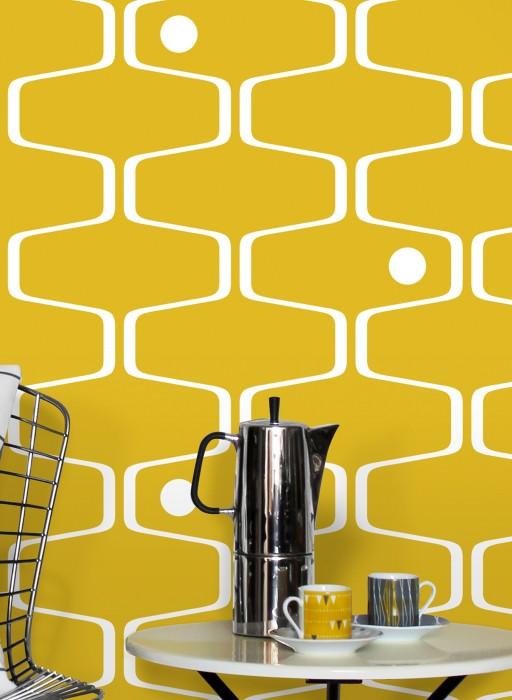 Wallpaper Nirvanus Matt Graphic elements Retro elements Yellow White
