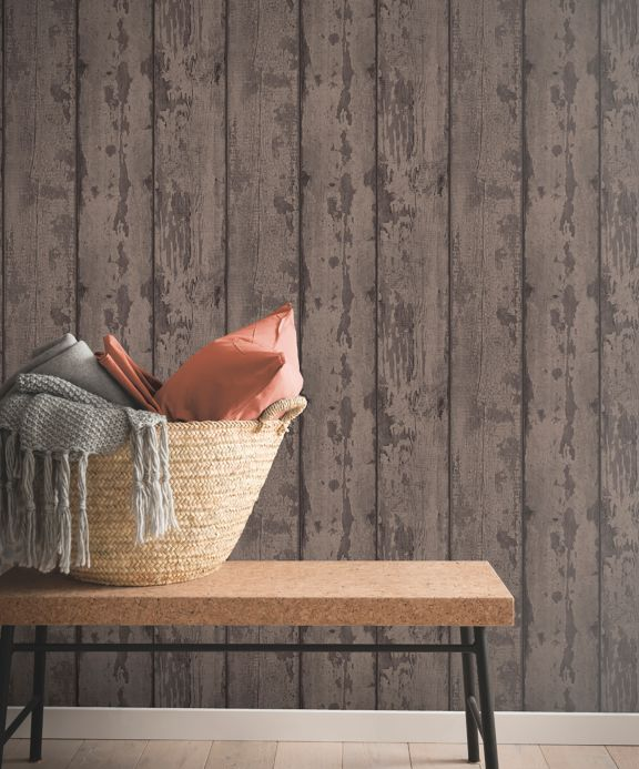 Wood effect wallpaper Wallpaper Firas brown tones Room View