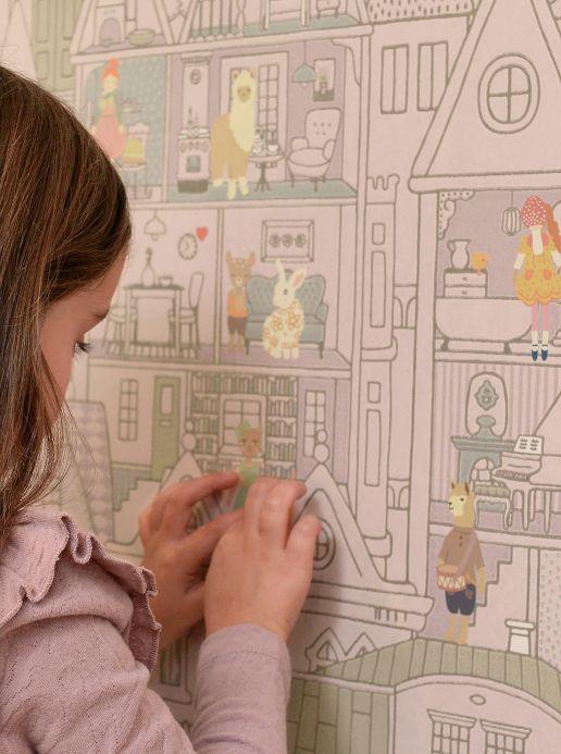 Papier peint Papier peint Dollhouse gris violet Vue pièce