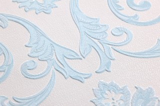 Wallpaper Obadia Shimmering pattern Matt base surface Floral damask Cream Blue-white glitter Light blue