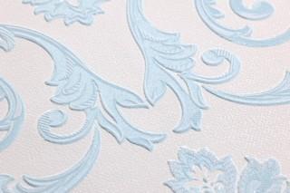 Wallpaper Obadia Shimmering pattern Matt base surface Floral damask Cream Blue-white glitter Light blue
