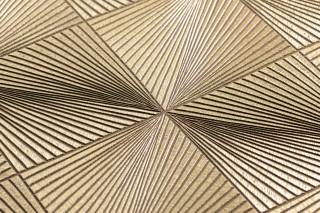 Papel pintado Tillas Brillante Elementos gráficos Oro perla Marrón sepia