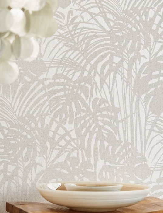 Wallpaper Persephone Shimmering Palm fronds Grey white Silver grey glitter