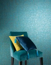 Tapete Zopara Muster schimmernd Untergrund matt Graphische Elemente Dunkelblau Pastellblau Perlgold