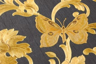 Wallpaper Glory Shimmering pattern Matt base surface Floral damask Bugs Butterflies Black grey Pale orange Brown Gold yellow shimmer