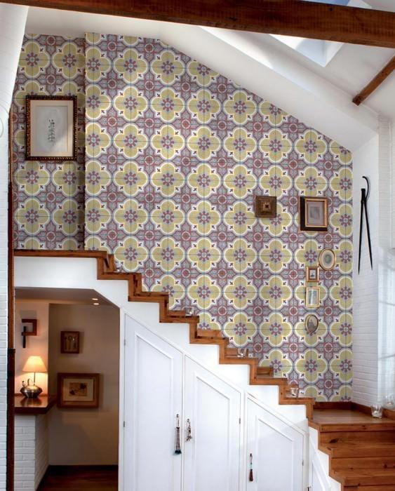 Wallpaper Mandala Matt Imitation tiles Pale brown red Pale golden yellow Light grey White