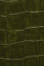 Wallpaper Croco 05 Shiny Imitation leather Dark green