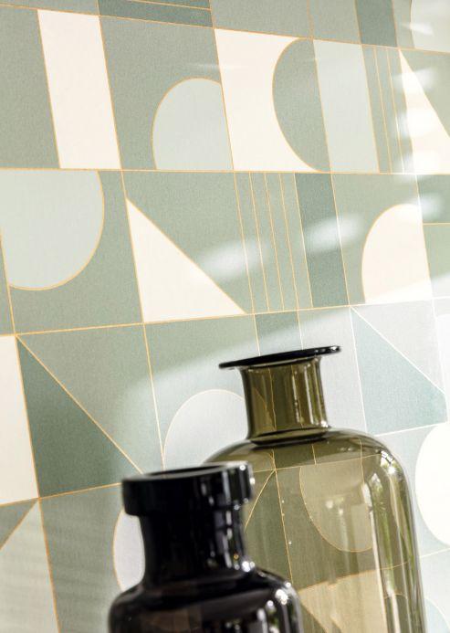 Bedroom Wallpaper Wallpaper Cubit mint turquoise Room View