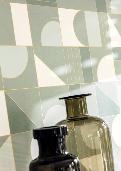 Art Deco Wallpaper Wallpaper Cubit mint turquoise Room View