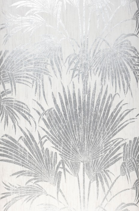 Wallpaper Lorella Shimmering pattern Matt base surface Palm fronds Cream Silver shimmer