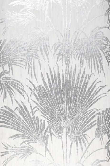Papel pintado Lorella Patrón brillante Superficie base mate Hojas de palma Blanco crema Plata brillante