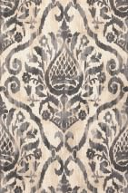 Papier peint Esiko Mat Damassé floral Blanc crème Beige gris Brun gris Gris platine Gris noir