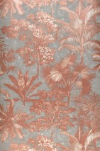 Wallpaper Alenia Shimmering pattern Matt base surface Trees Leaves Palm trees Grey Copper brown shimmer Rosewood