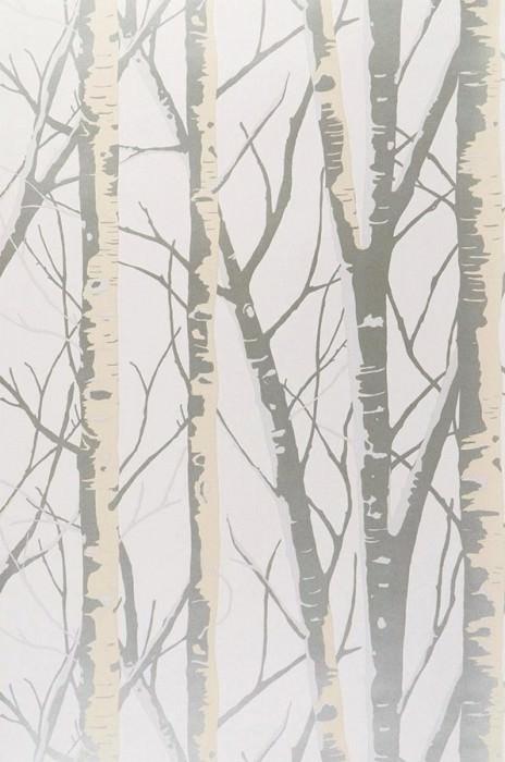 Papel pintado Diomedes Brillante Árboles Blanco crema perla lustre Marfil Plata