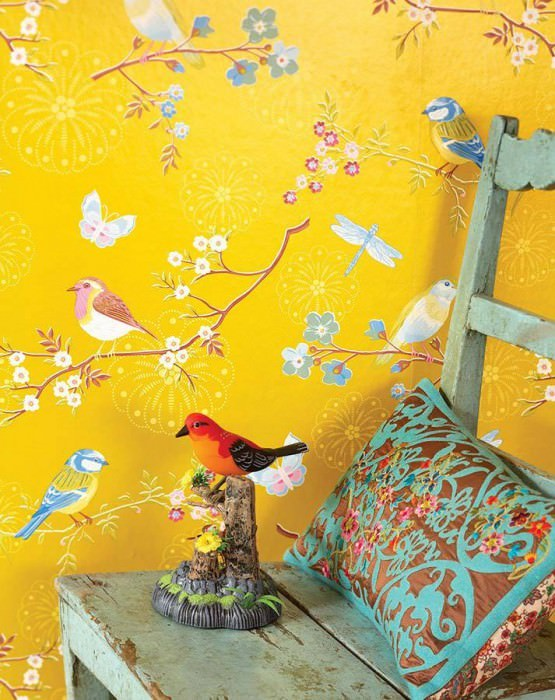 Wallpaper Audrey Matt pattern Shimmering base surface Blossoms Butterflies Birds Golden yellow Heather violet Yellow Light blue Copper brown White