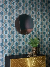 Wallpaper Robert Matt Graphic elements Rhombuses Ocean blue Grey beige Mint turquoise Pearl beige