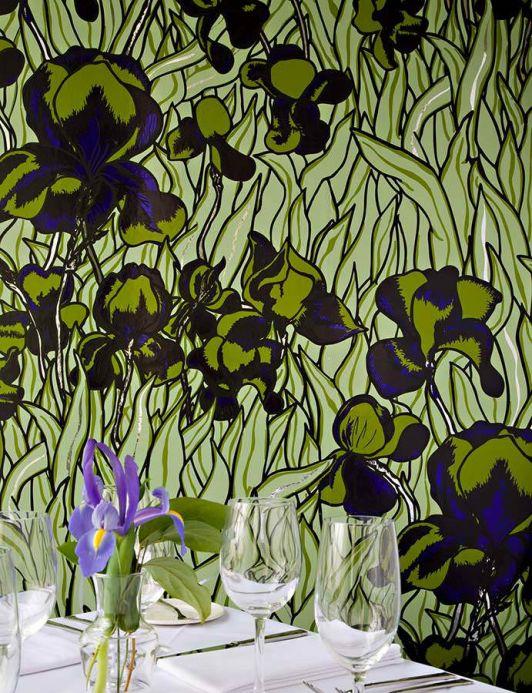 Papel pintado floral Papel pintado Iris verde oliva claro Ver habitación
