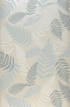 Wallpaper Surine Matt pattern Shimmering base surface Fern leaves Cream shimmer Green grey Mint turquoise