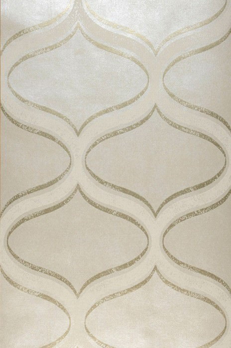 Wallpaper Hulda Hand printed look Shimmering Oval ornaments Wavy pattern Cream shimmer Pearl gold