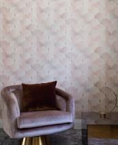 Papier peint Sabia Mat Éventails art déco Blanc crème Bois de rose Bois de rose chatoyant Rosé pâle Rose pâle chatoyant