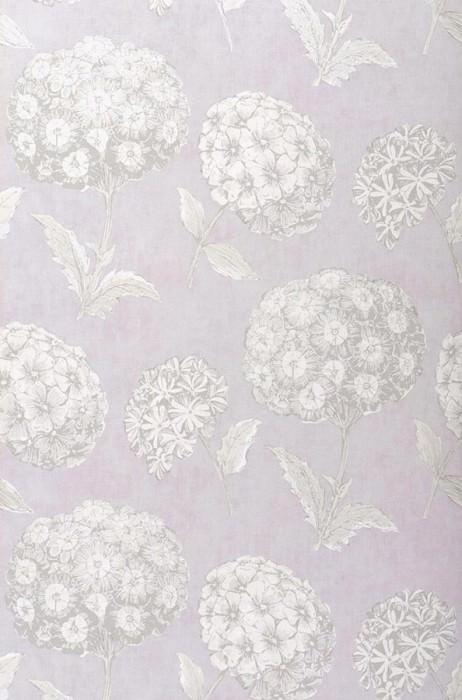 Papel pintado Larissa Mate Flores Lavanda claro Blanco crema Gris claro