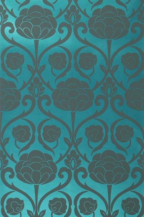 Wallpaper Damkina Matt pattern Shimmering base surface Floral damask Water blue metallic Basalt grey