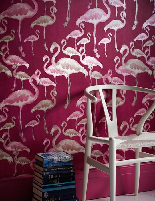 Wallpaper Amidala Shimmering pattern Matt base surface Flamingos Red violet Light ivory Raspberry red Red brown