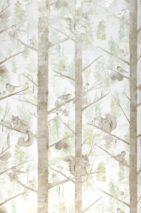 Tapete Haylie Muster schimmernd Untergrund matt Bäume Blätter Eichhörnchen Vögel Blassgrün Weiss Braungrau Hellperlbeige