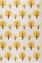 Carta da parati Dotty Opaco Alberi Bianco crema Marrone scuro Giallo oro
