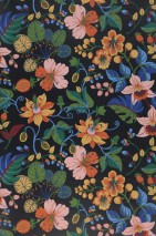 Wallpaper Frederika Hand printed look Matt Leaves Blossoms Black Shades of blue Shades of green Light yellow Light pink Red orange