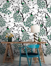 Wallpaper Peacock Matt Peacocks White Blue Green Black