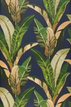Papel de parede Lasita Mate Folhas Azul aço Bege pardo Tons de verde Bege claro