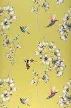 Wallpaper Gesine Matt Flower tendrils Hummingbirds Green yellow Blue Cream Yellow green Red Black
