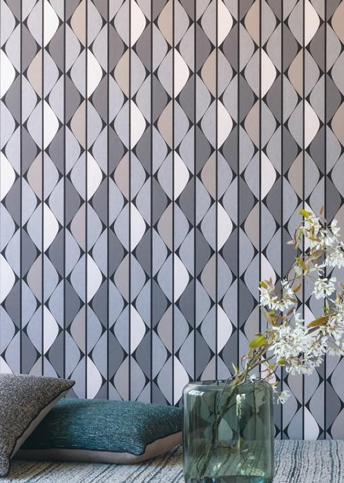 Papier peint Evan Mat Éléments graphiques Rayures Noir Aluminium gris Tons de gris Blanc gris