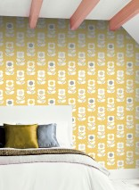 Wallpaper Catania Matt Retro design Stylised flowers Gorze yellow  Anthracite Pale brown Light grey White