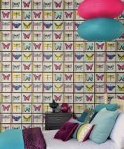 Wallpaper Anissa Matt Stamps Butterflies Black Cream Yellow green shimmer Pastel turquoise Red violet