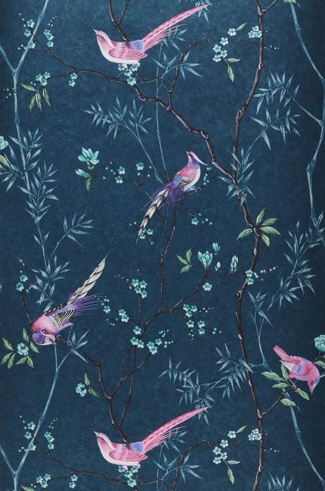 Papier peint Comtesse Motif chatoyant Surface mate Oiseaux Branches avec feuilles et fleurs Bleu océan Vert Rosé Brun noir Turquoise Tons de violet