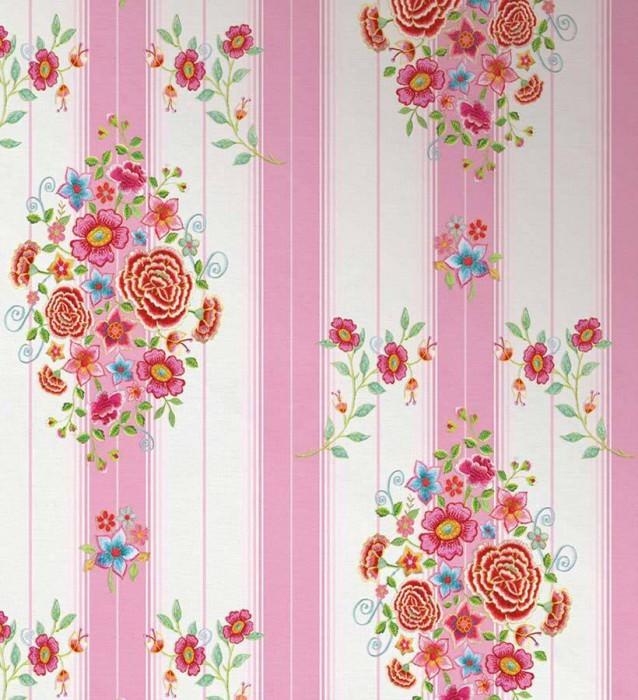Wallpaper Owiot Matt Flowers Floral Elements Stripes Cream Golden yellow Light blue Light heather violet Light green Red