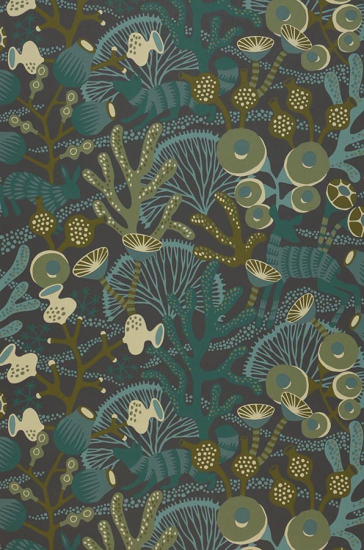 Serena anthracite vert fonc ivoire turquoise menthe - Papiers peints des annees 70 ...