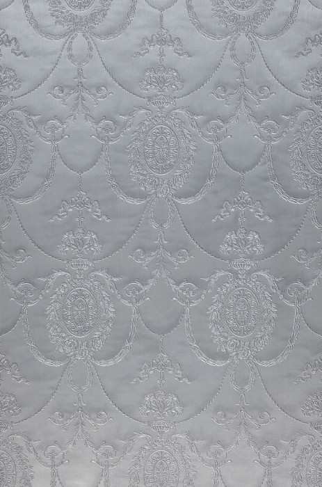 Wallpaper Rabia Shimmering Baroque damask Pearl light grey Grey